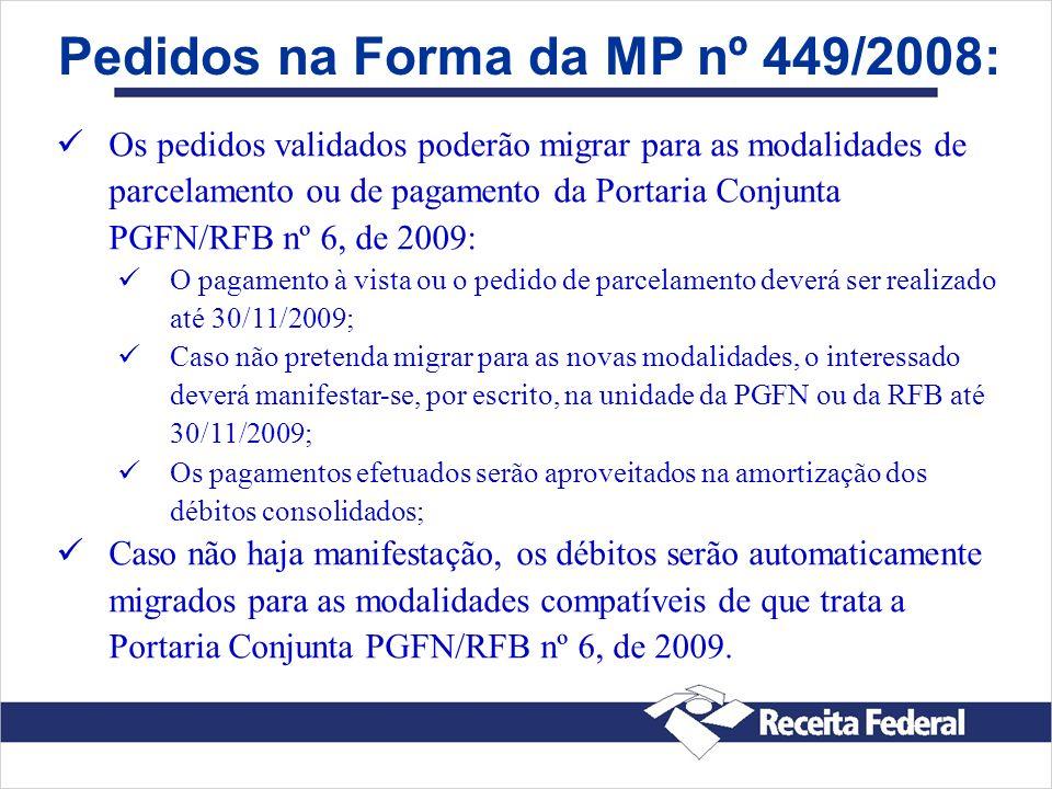 Pedidos na Forma da MP nº 449/2008: Os pedidos validados poderão migrar para as modalidades de parcelamento ou de pagamento da Portaria Conjunta PGFN/
