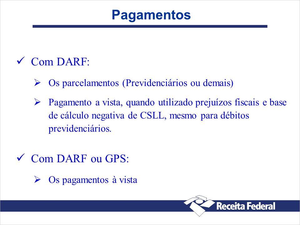 Pagamentos Com DARF: Os parcelamentos (Previdenciários ou demais) Pagamento a vista, quando utilizado prejuízos fiscais e base de cálculo negativa de