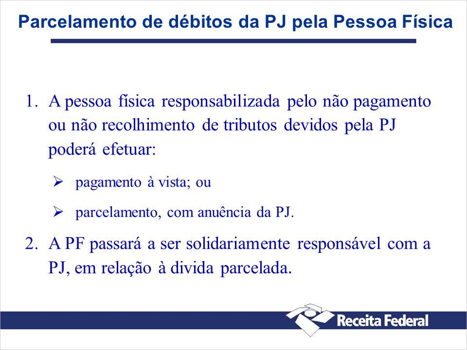 Parcelamento de débitos da PJ pela Pessoa Física 1. 1.A pessoa física responsabilizada pelo não pagamento ou não recolhimento de tributos devidos pela