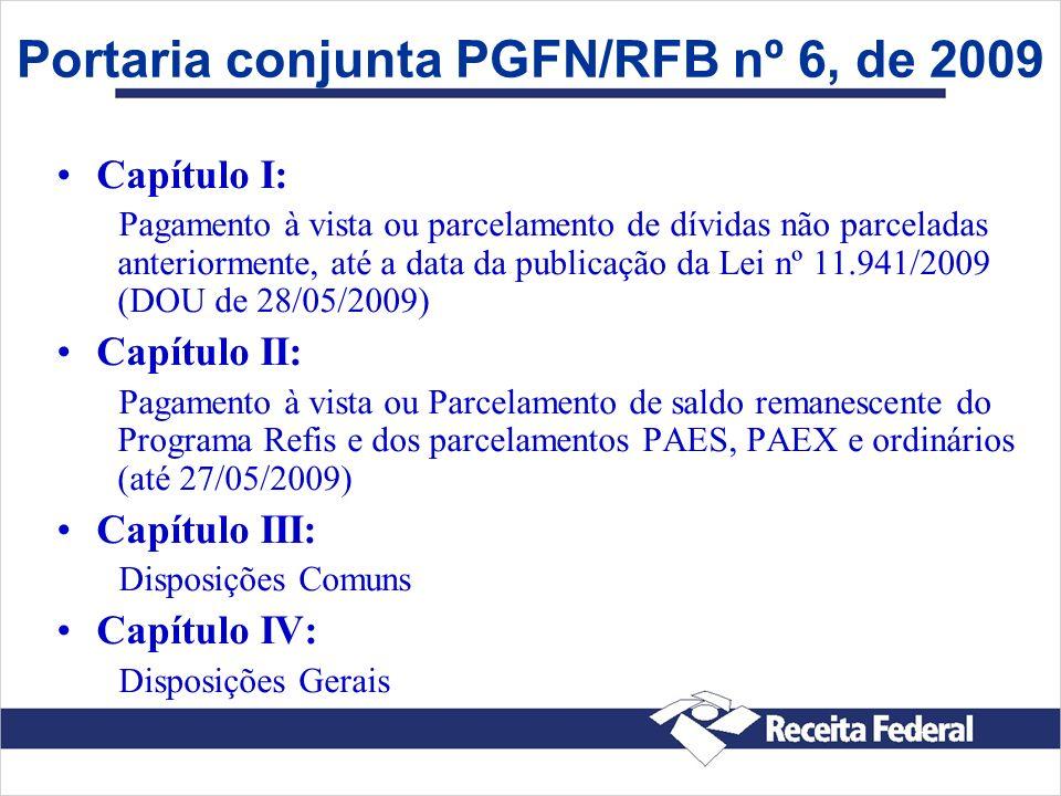 Portaria conjunta PGFN/RFB nº 6, de 2009 Capítulo I: Pagamento à vista ou parcelamento de dívidas não parceladas anteriormente, até a data da publicaç