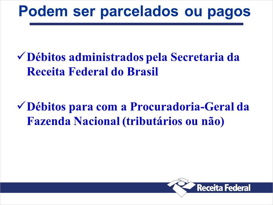 Podem ser parcelados ou pagos Débitos administrados pela Secretaria da Receita Federal do Brasil Débitos para com a Procuradoria-Geral da Fazenda Naci