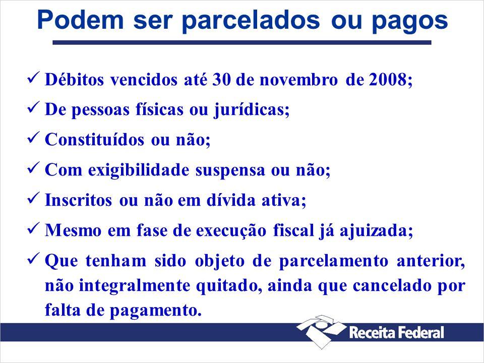 Débitos vencidos até 30 de novembro de 2008; De pessoas físicas ou jurídicas; Constituídos ou não; Com exigibilidade suspensa ou não; Inscritos ou não