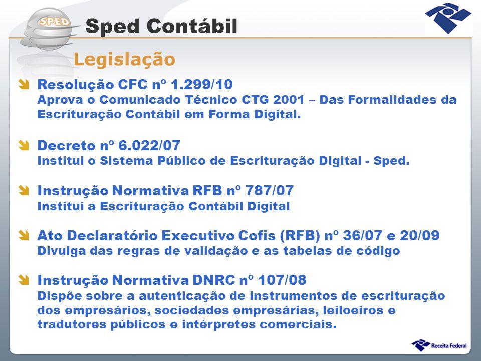 Resolução CFC nº 1.299/10 Aprova o Comunicado Técnico CTG 2001 – Das Formalidades da Escrituração Contábil em Forma Digital. Decreto nº 6.022/07 Insti