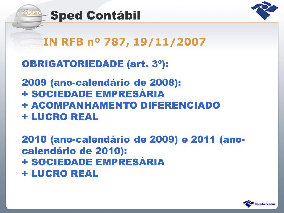 OBRIGATORIEDADE (art. 3º): 2009 (ano-calendário de 2008): + SOCIEDADE EMPRESÁRIA + ACOMPANHAMENTO DIFERENCIADO + LUCRO REAL 2010 (ano-calendário de 20