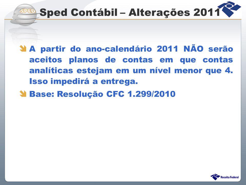Sped Contábil – Alterações 2011 A partir do ano-calendário 2011 NÃO serão aceitos planos de contas em que contas analíticas estejam em um nível menor
