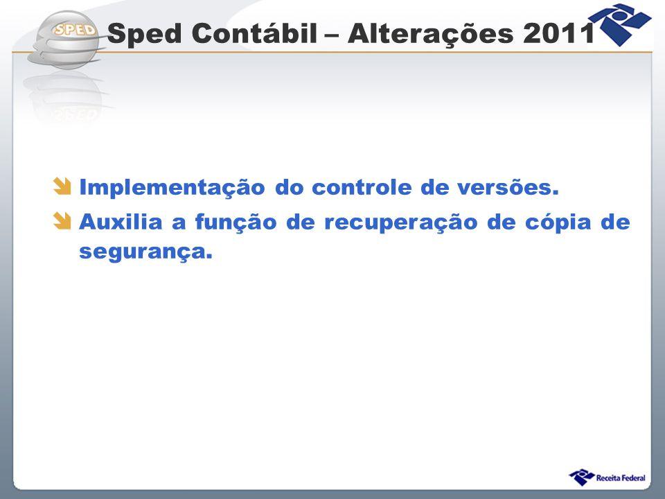 Sped Contábil – Alterações 2011 Implementação do controle de versões. Auxilia a função de recuperação de cópia de segurança.
