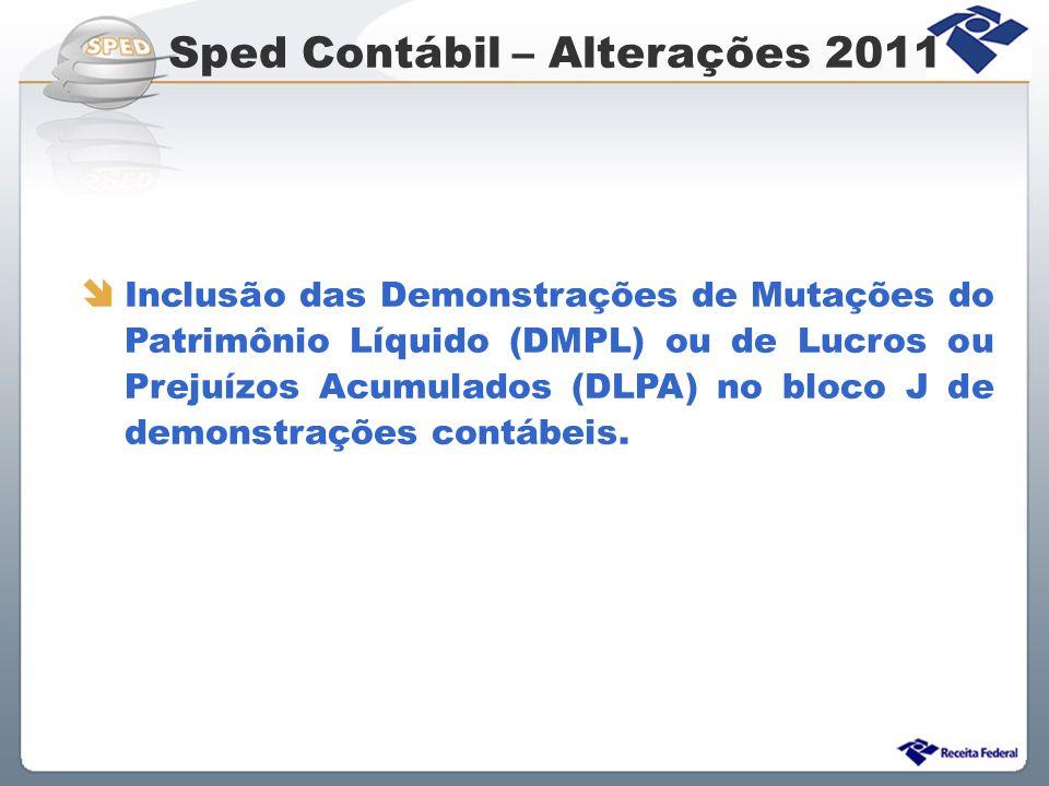 Sped Contábil – Alterações 2011 Inclusão das Demonstrações de Mutações do Patrimônio Líquido (DMPL) ou de Lucros ou Prejuízos Acumulados (DLPA) no blo