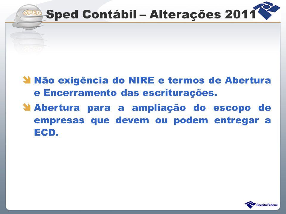Sped Contábil – Alterações 2011 Não exigência do NIRE e termos de Abertura e Encerramento das escriturações. Abertura para a ampliação do escopo de em