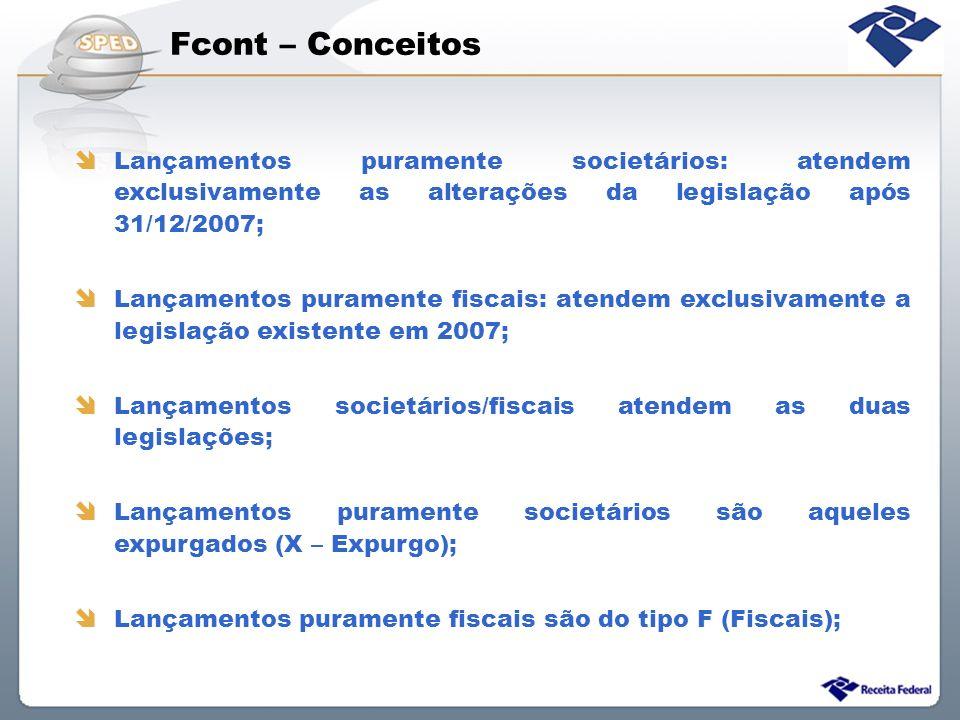 Fcont – Conceitos Lançamentos puramente societários: atendem exclusivamente as alterações da legislação após 31/12/2007; Lançamentos puramente fiscais