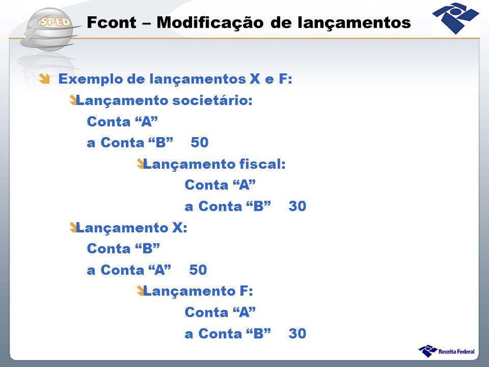 Fcont – Modificação de lançamentos Exemplo de lançamentos X e F: Lançamento societário: Conta A a Conta B 50 Lançamento fiscal: Conta A a Conta B 30 L