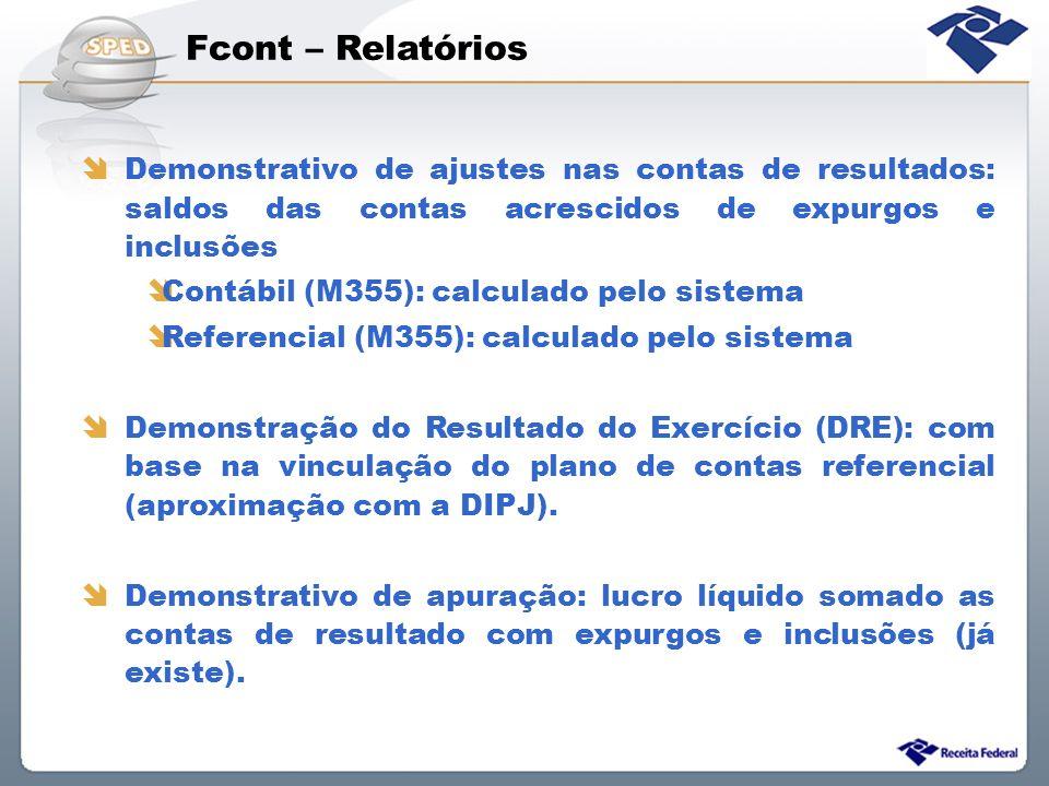 Fcont – Relatórios Demonstrativo de ajustes nas contas de resultados: saldos das contas acrescidos de expurgos e inclusões Contábil (M355): calculado
