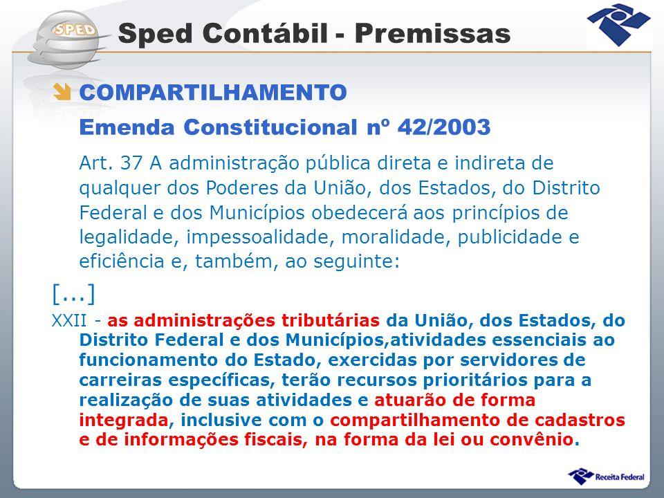Sped Contábil - Premissas COMPARTILHAMENTO Emenda Constitucional nº 42/2003 Art. 37 A administração pública direta e indireta de qualquer dos Poderes