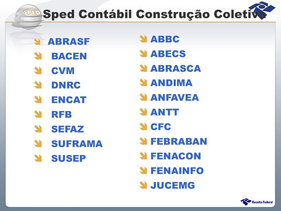 Sped Contábil Construção Coletiva ABRASF BACEN CVM DNRC ENCAT RFB SEFAZ SUFRAMA SUSEP ABBC ABECS ABRASCA ANDIMA ANFAVEA ANTT CFC FEBRABAN FENACON FENA