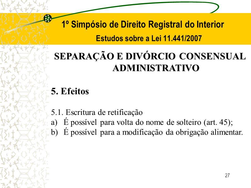 27 1º Simpósio de Direito Registral do Interior Estudos sobre a Lei 11.441/2007 SEPARAÇÃO E DIVÓRCIO CONSENSUAL ADMINISTRATIVO 5. Efeitos 5.1. Escritu