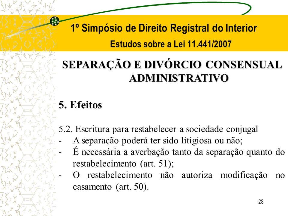 28 1º Simpósio de Direito Registral do Interior Estudos sobre a Lei 11.441/2007 SEPARAÇÃO E DIVÓRCIO CONSENSUAL ADMINISTRATIVO 5. Efeitos 5.2. Escritu