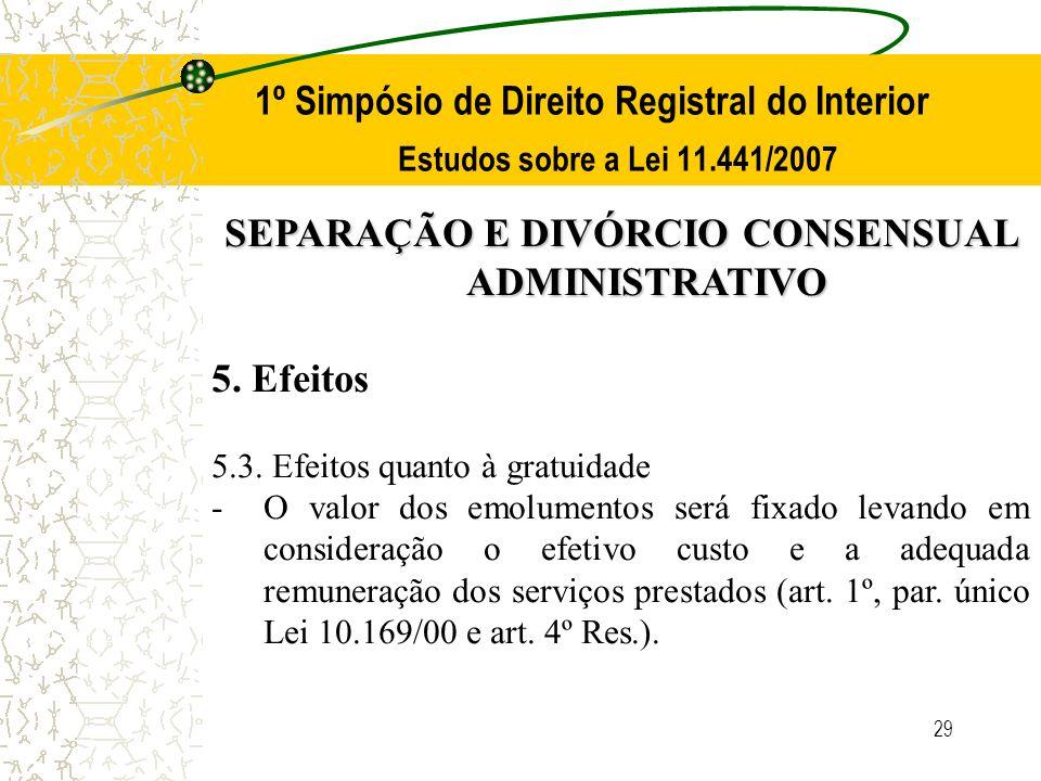 29 1º Simpósio de Direito Registral do Interior Estudos sobre a Lei 11.441/2007 SEPARAÇÃO E DIVÓRCIO CONSENSUAL ADMINISTRATIVO 5. Efeitos 5.3. Efeitos
