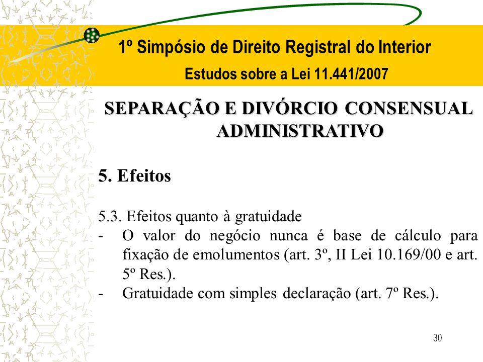 30 1º Simpósio de Direito Registral do Interior Estudos sobre a Lei 11.441/2007 SEPARAÇÃO E DIVÓRCIO CONSENSUAL ADMINISTRATIVO 5. Efeitos 5.3. Efeitos