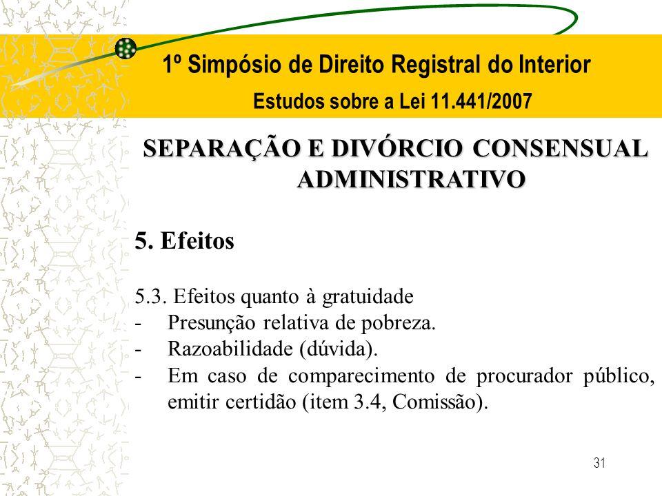 31 1º Simpósio de Direito Registral do Interior Estudos sobre a Lei 11.441/2007 SEPARAÇÃO E DIVÓRCIO CONSENSUAL ADMINISTRATIVO 5. Efeitos 5.3. Efeitos