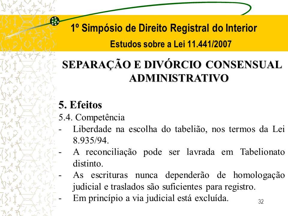 32 1º Simpósio de Direito Registral do Interior Estudos sobre a Lei 11.441/2007 SEPARAÇÃO E DIVÓRCIO CONSENSUAL ADMINISTRATIVO 5. Efeitos 5.4. Competê