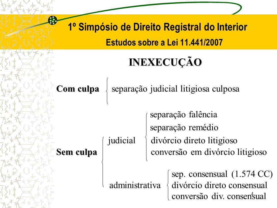 4 1º Simpósio de Direito Registral do Interior Estudos sobre a Lei 11.441/2007 INEXECUÇÃO Com culpa Com culpaseparação judicial litigiosa culposa sepa