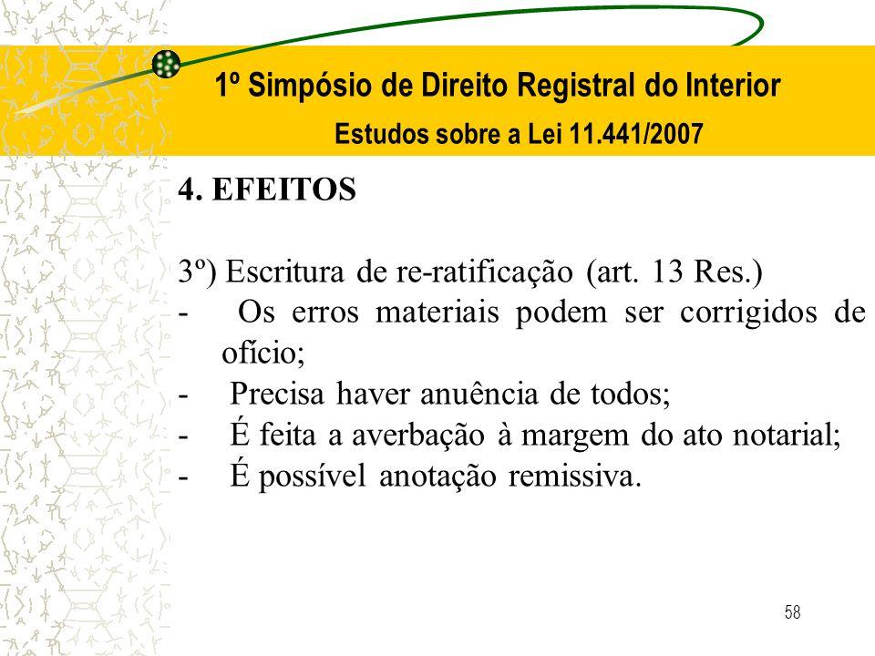 58 1º Simpósio de Direito Registral do Interior Estudos sobre a Lei 11.441/2007 4. EFEITOS 3º) Escritura de re-ratificação (art. 13 Res.) - Os erros m