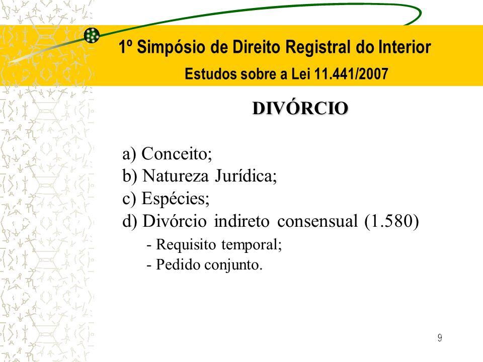 9 1º Simpósio de Direito Registral do Interior Estudos sobre a Lei 11.441/2007 DIVÓRCIO a) Conceito; b) Natureza Jurídica; c) Espécies; d) Divórcio in