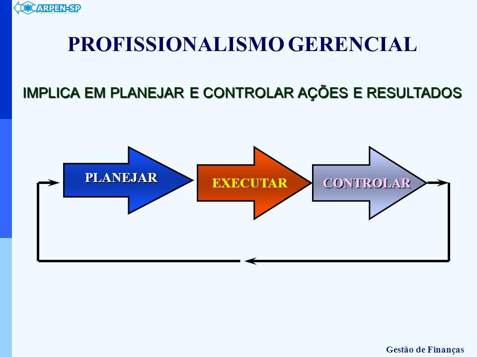 PLANEJAR EXECUTAR CONTROLAR IMPLICA EM PLANEJAR E CONTROLAR AÇÕES E RESULTADOS PROFISSIONALISMO GERENCIAL Gestão de Finanças