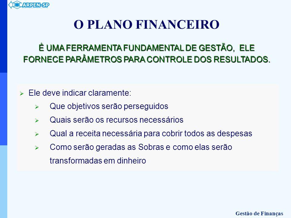 O PLANO FINANCEIRO É UMA FERRAMENTA FUNDAMENTAL DE GESTÃO, ELE FORNECE PARÂMETROS PARA CONTROLE DOS RESULTADOS. Ele deve indicar claramente: Que objet