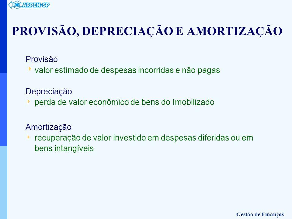 Provisão valor estimado de despesas incorridas e não pagas Depreciação perda de valor econômico de bens do Imobilizado Amortização recuperação de valo