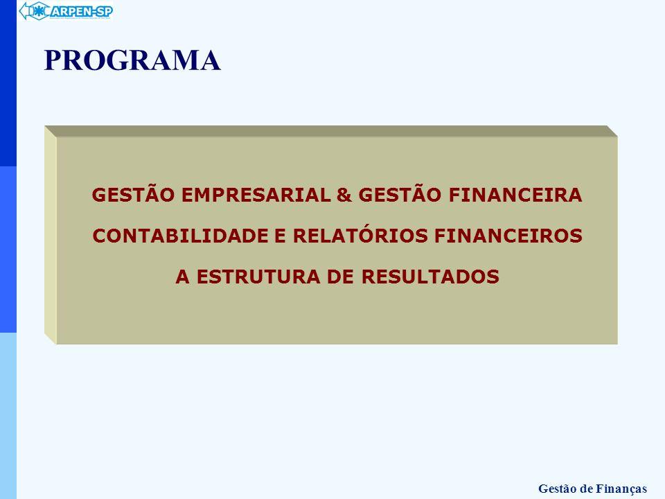 PROGRAMA GESTÃO EMPRESARIAL & GESTÃO FINANCEIRA CONTABILIDADE E RELATÓRIOS FINANCEIROS A ESTRUTURA DE RESULTADOS Gestão de Finanças