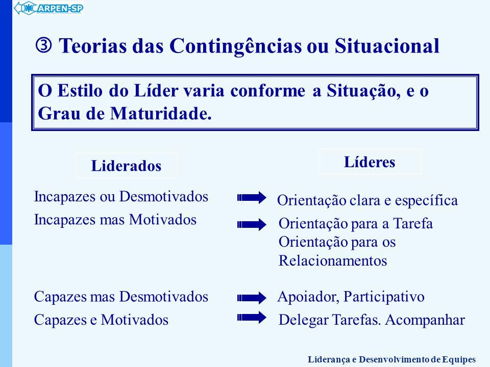 Teorias das Contingências ou Situacional O Estilo do Líder varia conforme a Situação, e o Grau de Maturidade. Liderados Líderes Incapazes ou Desmotiva