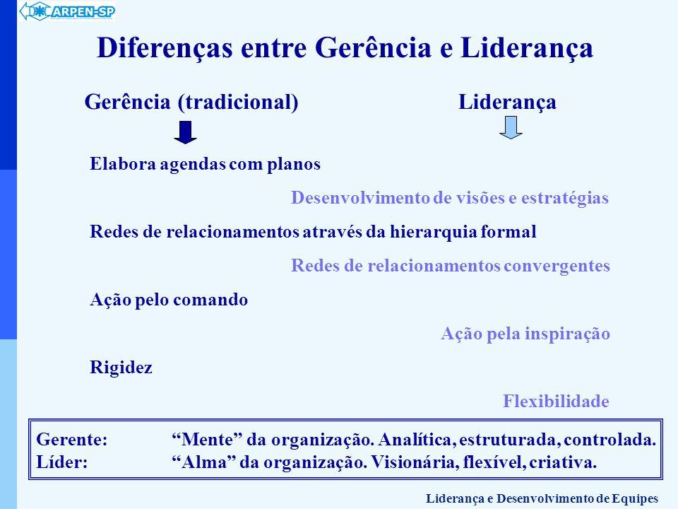 Diferenças entre Gerência e Liderança Gerência (tradicional) Elabora agendas com planos Desenvolvimento de visões e estratégias Redes de relacionament