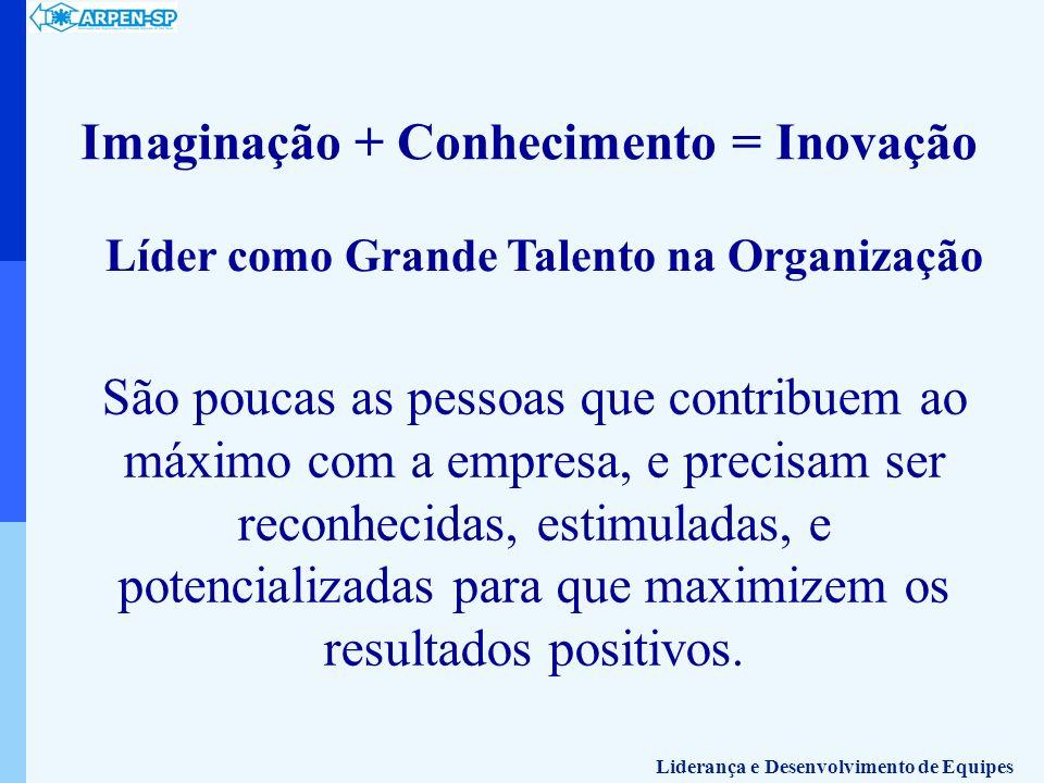 Imaginação + Conhecimento = Inovação Líder como Grande Talento na Organização São poucas as pessoas que contribuem ao máximo com a empresa, e precisam