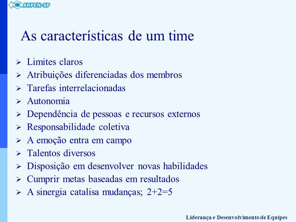 As características de um time Limites claros Atribuições diferenciadas dos membros Tarefas interrelacionadas Autonomia Dependência de pessoas e recurs