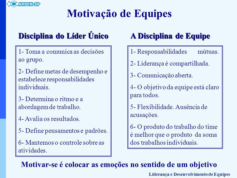 Motivação de Equipes Disciplina do Líder Único 1- Toma a comunica as decisões ao grupo. 2- Define metas de desempenho e estabelece responsabilidades i