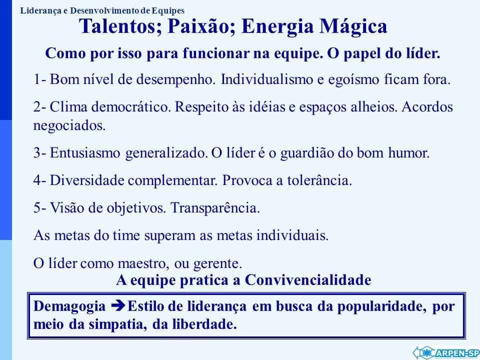 Talentos; Paixão; Energia Mágica 1- Bom nível de desempenho. Individualismo e egoísmo ficam fora. 2- Clima democrático. Respeito às idéias e espaços a