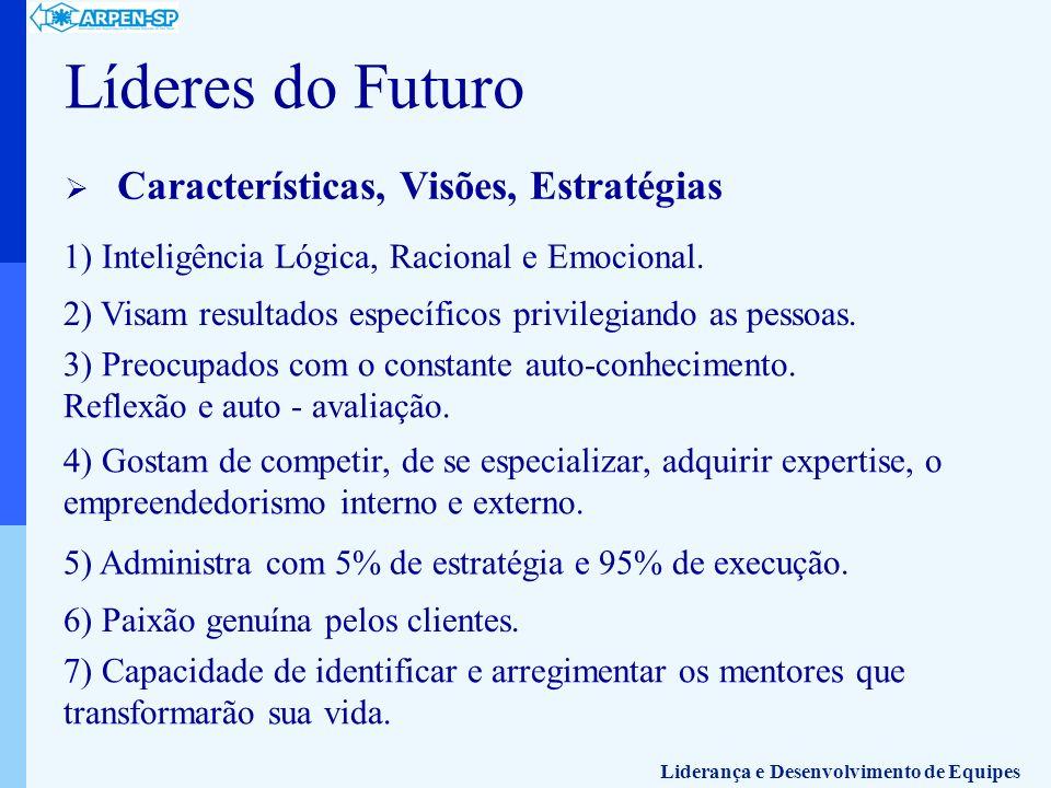 Líderes do Futuro Características, Visões, Estratégias 1) Inteligência Lógica, Racional e Emocional. 2) Visam resultados específicos privilegiando as