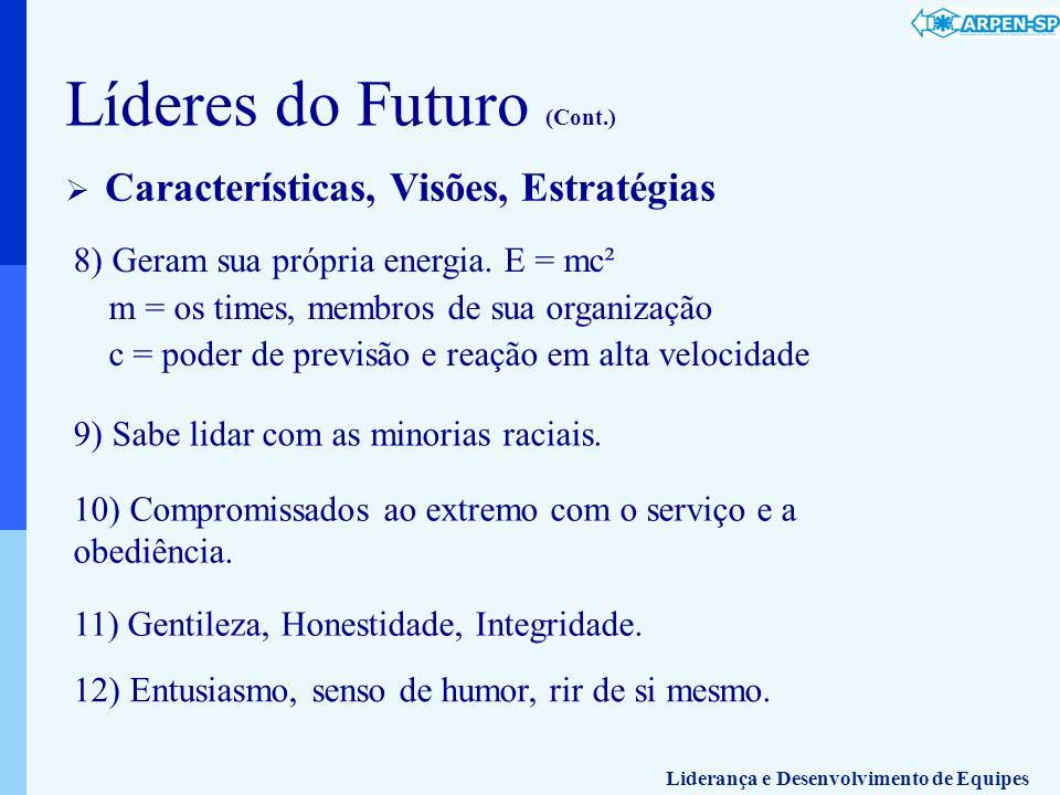 8) Geram sua própria energia. E = mc² m = os times, membros de sua organização c = poder de previsão e reação em alta velocidade Líderes do Futuro (Co