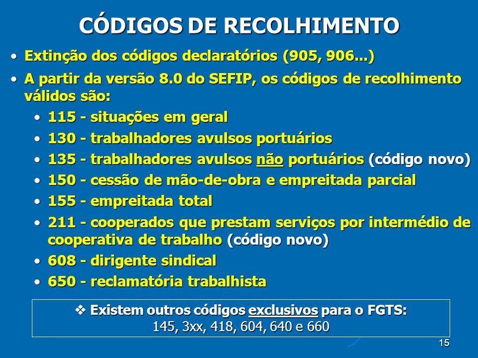 15 CÓDIGOS DE RECOLHIMENTO Extinção dos códigos declaratórios (905, 906...)Extinção dos códigos declaratórios (905, 906...) A partir da versão 8.0 do SEFIP, os códigos de recolhimento válidos são:A partir da versão 8.0 do SEFIP, os códigos de recolhimento válidos são: 115 - situações em geral115 - situações em geral 130 - trabalhadores avulsos portuários130 - trabalhadores avulsos portuários 135 - trabalhadores avulsos não portuários (código novo)135 - trabalhadores avulsos não portuários (código novo) 150 - cessão de mão-de-obra e empreitada parcial150 - cessão de mão-de-obra e empreitada parcial 155 - empreitada total155 - empreitada total 211 - cooperados que prestam serviços por intermédio de cooperativa de trabalho (código novo)211 - cooperados que prestam serviços por intermédio de cooperativa de trabalho (código novo) 608 - dirigente sindical608 - dirigente sindical 650 - reclamatória trabalhista650 - reclamatória trabalhista Existem outros códigos exclusivos para o FGTS: 145, 3xx, 418, 604, 640 e 660 Existem outros códigos exclusivos para o FGTS: 145, 3xx, 418, 604, 640 e 660