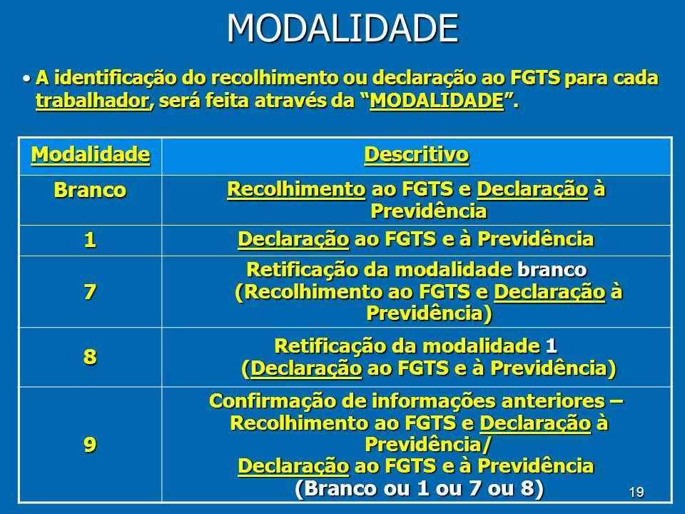 19MODALIDADEModalidadeDescritivo Branco Recolhimento ao FGTS e Declaração à Previdência 1 Declaração ao FGTS e à Previdência 7 Retificação da modalidade branco (Recolhimento ao FGTS e Declaração à Previdência) 8 Retificação da modalidade 1 (Declaração ao FGTS e à Previdência) 9 Confirmação de informações anteriores – Recolhimento ao FGTS e Declaração à Previdência/ Recolhimento ao FGTS e Declaração à Previdência/ Declaração ao FGTS e à Previdência (Branco ou 1 ou 7 ou 8) (Branco ou 1 ou 7 ou 8) A identificação do recolhimento ou declaração ao FGTS para cada trabalhador, será feita através da MODALIDADE.A identificação do recolhimento ou declaração ao FGTS para cada trabalhador, será feita através da MODALIDADE.