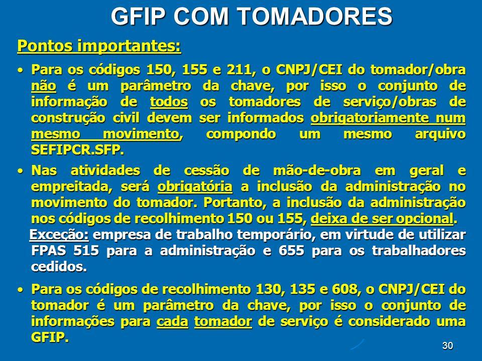 30 GFIP COM TOMADORES Pontos importantes: Para os códigos 150, 155 e 211, o CNPJ/CEI do tomador/obra não é um parâmetro da chave, por isso o conjunto de informação de todos os tomadores de serviço/obras de construção civil devem ser informados obrigatoriamente num mesmo movimento, compondo um mesmo arquivo SEFIPCR.SFP.Para os códigos 150, 155 e 211, o CNPJ/CEI do tomador/obra não é um parâmetro da chave, por isso o conjunto de informação de todos os tomadores de serviço/obras de construção civil devem ser informados obrigatoriamente num mesmo movimento, compondo um mesmo arquivo SEFIPCR.SFP.