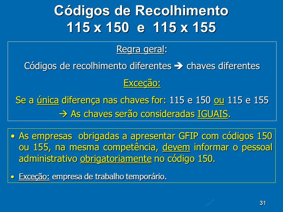 31 Códigos de Recolhimento 115 x 150 e 115 x 155 Regra geral: Códigos de recolhimento diferentes chaves diferentes Exceção: Se a única diferença nas chaves for: 115 e 150 ou 115 e 155 As chaves serão consideradas IGUAIS.