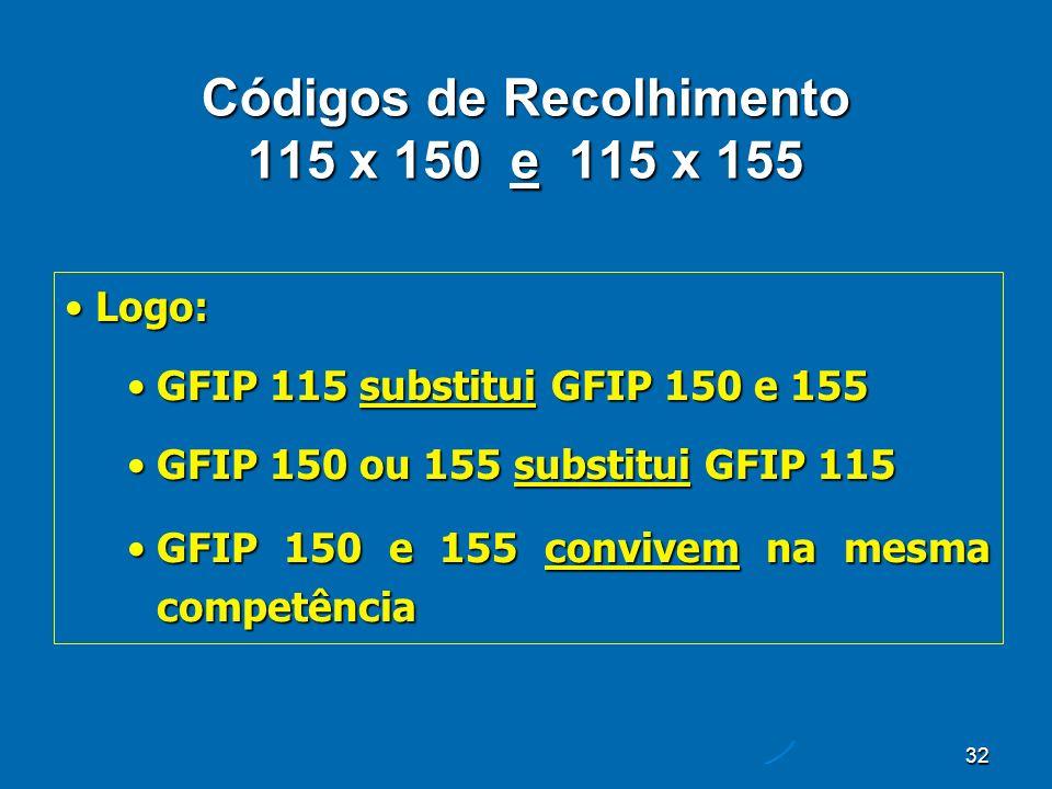 32 Códigos de Recolhimento 115 x 150 e 115 x 155 Logo:Logo: GFIP 115 substitui GFIP 150 e 155GFIP 115 substitui GFIP 150 e 155 GFIP 150 ou 155 substitui GFIP 115GFIP 150 ou 155 substitui GFIP 115 GFIP 150 e 155 convivem na mesma competênciaGFIP 150 e 155 convivem na mesma competência