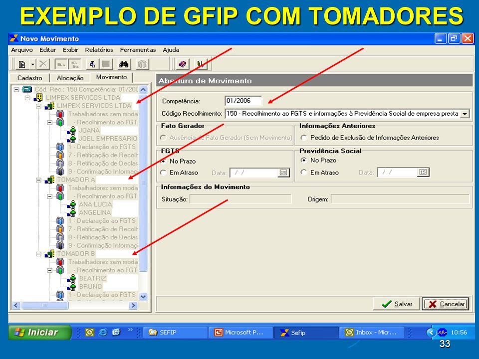 33 EXEMPLO DE GFIP COM TOMADORES