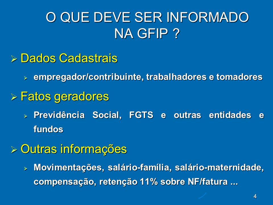 25 Campo do SEFIPGFIP 11/2005 GFIP 12/2005 GFIP 13/2005 Remuneração sem 13º salário (Registro tipo 30, Campo 16) 1.000,00 - Remuneração 13º Salário (Registro tipo 30, Campo 17) 500,00 (1ª parcela) Base FGTS 500,00 (2ª parcela) Base FGTS - Base de Cálculo 13° Salário Previdência Social – Referente à Comp.