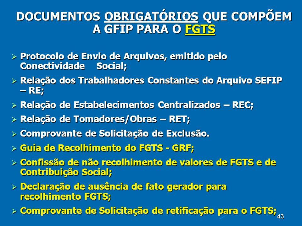 43 Protocolo de Envio de Arquivos, emitido pelo Conectividade Social; Protocolo de Envio de Arquivos, emitido pelo Conectividade Social; Relação dos Trabalhadores Constantes do Arquivo SEFIP – RE; Relação dos Trabalhadores Constantes do Arquivo SEFIP – RE; Relação de Estabelecimentos Centralizados – REC; Relação de Estabelecimentos Centralizados – REC; Relação de Tomadores/Obras – RET; Relação de Tomadores/Obras – RET; Comprovante de Solicitação de Exclusão.
