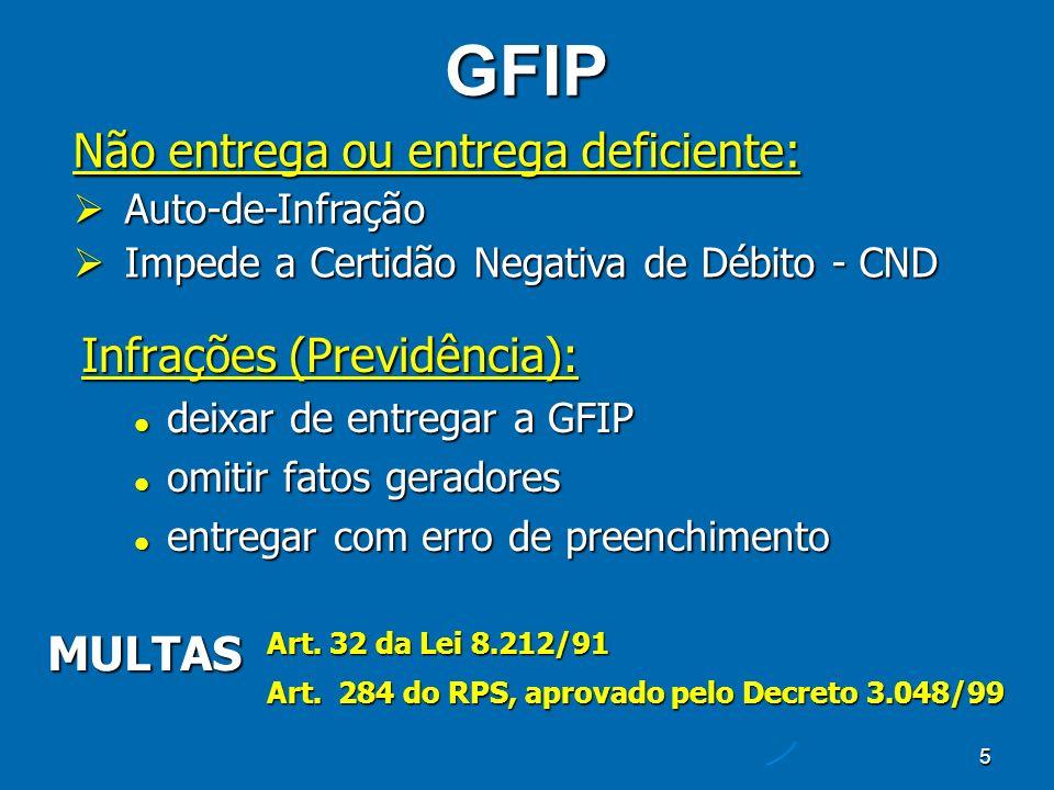 46 VINCULAÇÃO DO NÚMERO DE ARQUIVO X PROTOCOLO x GFIP Protocolo de Envio de Arquivos GFIP Número de Arquivo