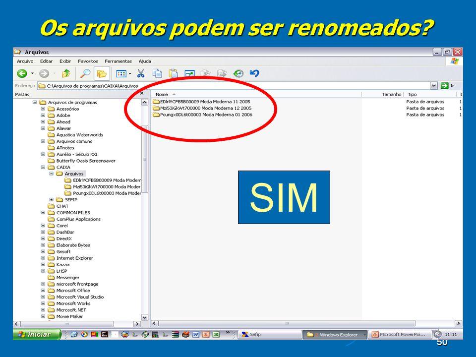 50 Os arquivos podem ser renomeados SIM