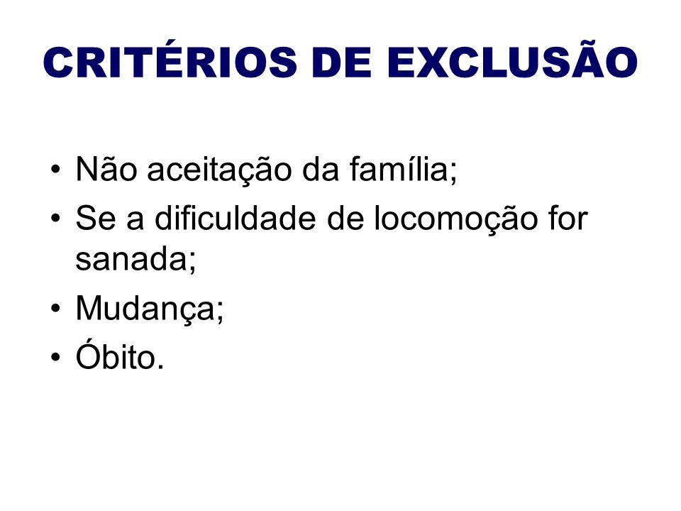 CRITÉRIOS DE EXCLUSÃO Não aceitação da família; Se a dificuldade de locomoção for sanada; Mudança; Óbito.
