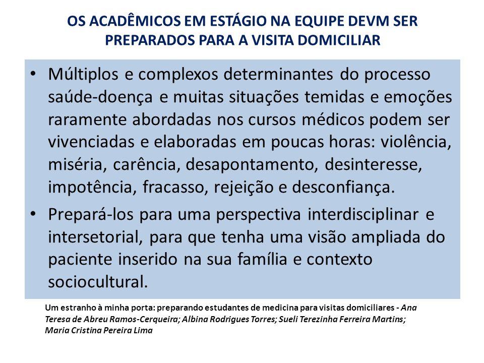 OS ACADÊMICOS EM ESTÁGIO NA EQUIPE DEVM SER PREPARADOS PARA A VISITA DOMICILIAR Múltiplos e complexos determinantes do processo saúde-doença e muitas